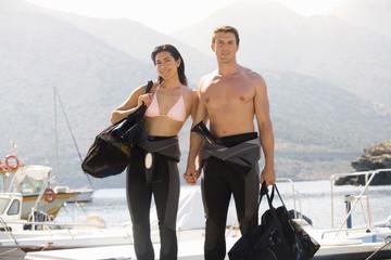 A couple going scuba diving