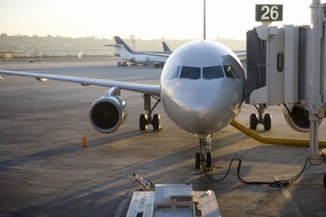 Stationary commercial aircraft at airport boarding gate, front view