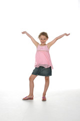 cute girl with arms raised as if in victory