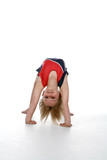 Young girl doing a gymnastics bridge position