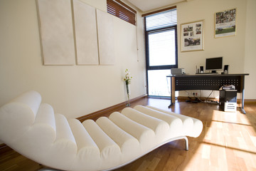 White chaise longue in home office