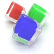 red green and blue cubes on white background