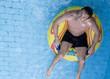 A man having fun in a waterpark