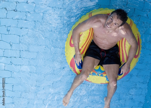 A man having fun in a waterpark