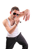 Hip hop artist isolated against white background poster