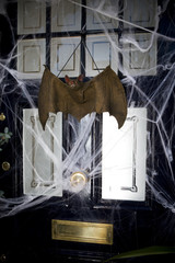 Still life of a front door decorated for Halloween