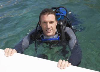 A man scuba diving