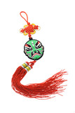 Chinese opera mask ornament with mystic knot poster