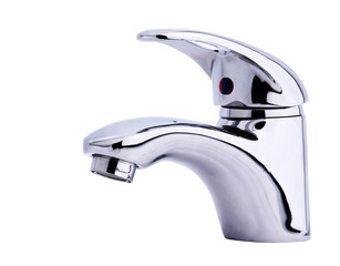 Modern stainless steel tap. Isolated on white background.
