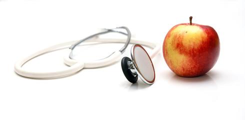 Stethoskop und Apfel