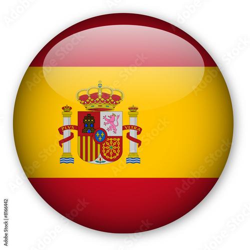 canvas print picture Spanish flag button