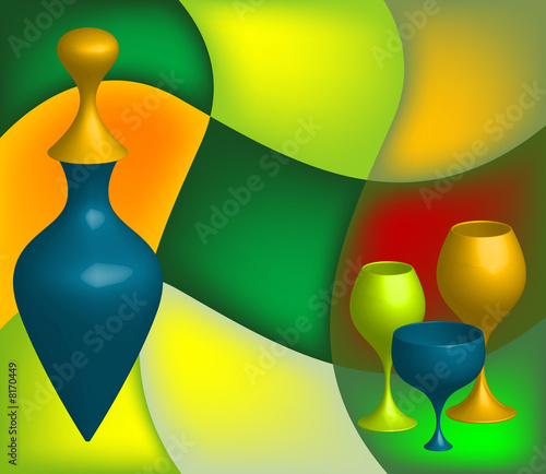 Abstract bottle and colored glasses