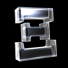 xi symbol in glass (3d)