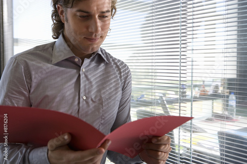 Businessman with file by window in office