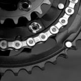 MTB crankset with  chain poster