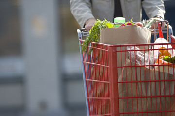 Man pushing grocery cart full of groceries