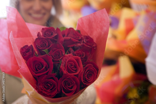 Close up of bouquet of red roses