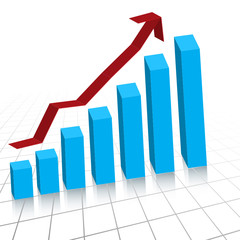 Business profit growth graph chart with reflection