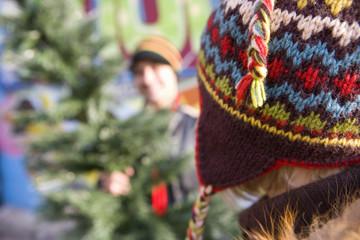 Couple choosing Christmas tree