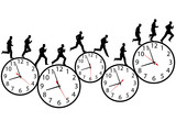 Business men in a hurry run & walk on time clocks poster