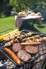 Food on barbeque outdoors