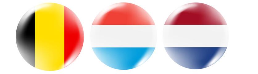 Benilux flag buttons