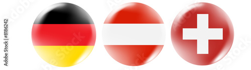Germany, Austria, Swiss flag buttons