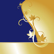 Blue Gold Maple Background