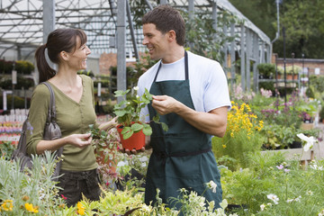 Man working in garden centre, talking to female customer, holding pot plant, smiling, side view