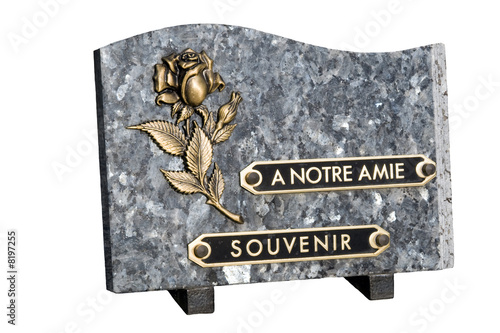 plaque funéraire détourée sur fond blanc - 8197255