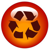 red reduce reuse recycle web button or icon poster