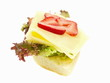 belegte brötchen,baguette,gouda käse, salat und früchte