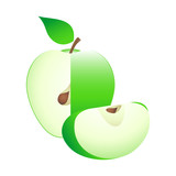 Ripe green apple with seed. All is editable, no mesh poster