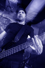 Bass player blue