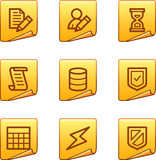 Database icons, gold sticker series poster