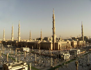 Nabawi Mosque, Medina, Saudi Arabia in the evening.