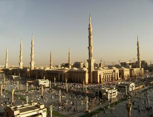 Nabawi Mosque, Medina, Saudi Arabia in the evening.