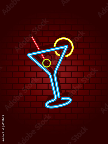 Neon cocktail sign against wall