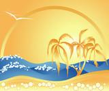 Ocean, Summer, Beach, Palm trees poster
