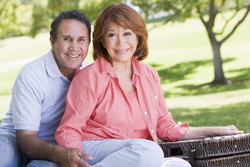 Couple at a picnic holding hands and smiling