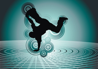 Vector illustration of a break-dancer.
