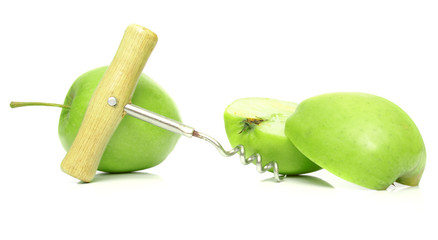 green apple and steel corkscrew