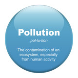 Pollution glass button isolated over white background poster