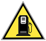 yellow triangle gas pump caution sign  poster