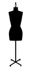 black silhouette of a dressmakers mannequin