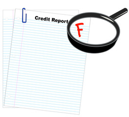 credit report with magnifying glass marked with an F