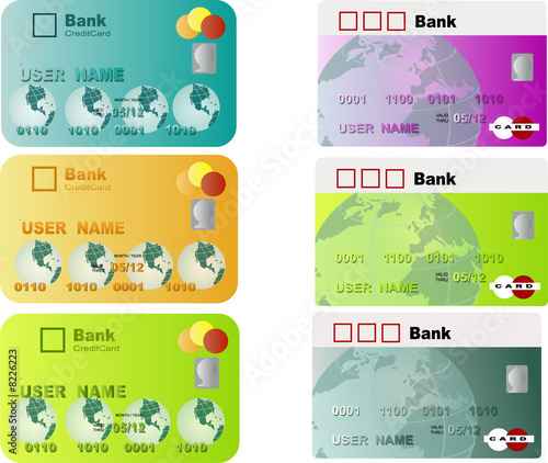 buying with credit card, different design and color