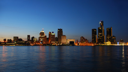 City skyline at night - Detroit, Michigan