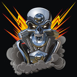 Vector metall skull with engine