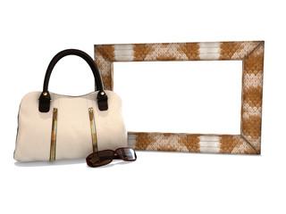 photo frame with a handbag and sunglasses fashion
